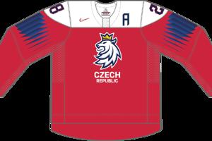 Dres Česka určený pre zápasy, v ktorých je napísané ako hosťujúci tím.