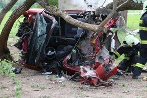 Rotujúce auto zastavili až stromy.