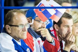 Fanúšikovia Slovenska počas zápasu Slovensko - Kanada na MS v hokeji 2019.