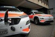 Ilustračná snímka elektrických policajných áut vo Švajčiarsku.