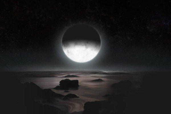 Predstava, ako môže vyzerať Pluto so z povrchu svojho mesiaca Charon.
