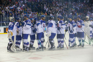 Slovenskí hokejisti po zápase Slovensko - Kanada na MS v hokeji 2019.