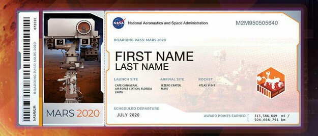 Vzor palubného lístku, ktorý môžete získať v kampani NASA. Na palube roveru Mars 2020 poletia milióny mien.