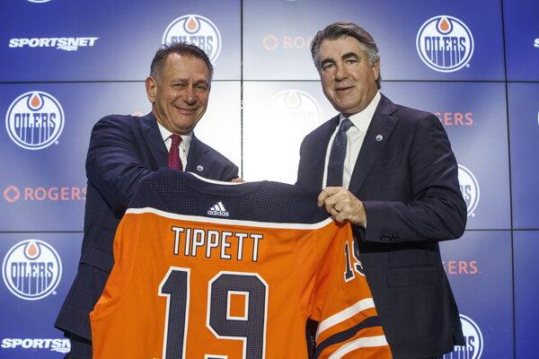Nový tréner Edmontonu Dave Tippett (vpravo) a generálny manažér Ken Holland.