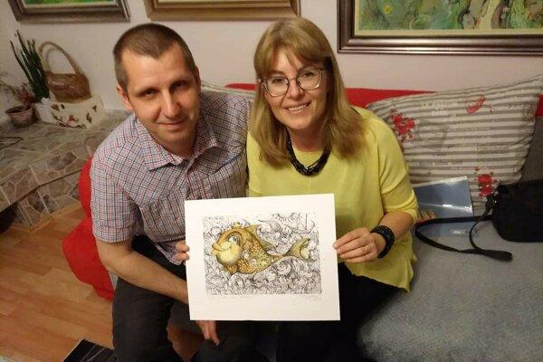 Lívia Muntagová s ilustrátorom Miroslavom Knapom.