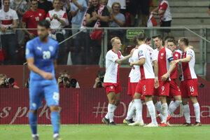 Radosť hráčov Poľska v zápase kvalifikácie na EURO 2020 Poľsko - Izrael.