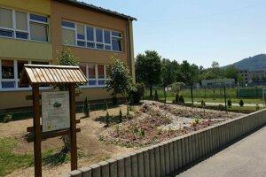 Na snímke nová dažďová záhrada v areáli ZŠ J. A. Komenského v Revúcej