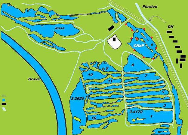 Mapa párnických rybníkov. Vpravo je označený revír srežimom Chyť apusť.