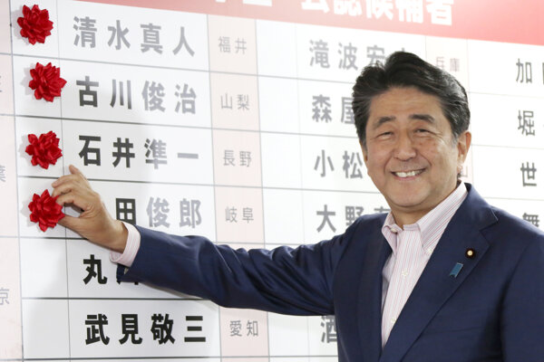 Japonský premiér Šinzo Abe umiestňuje červené rozety k menám zvolených kandidátov v sídle jeho Liberálnodemokratickej strany.