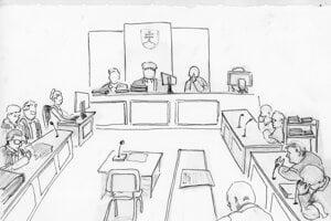 Súdna sieň. Miesto pre Mariána Kočnera zostalo prázdne. Požiadal o konanie v jeho neprítomnosti.