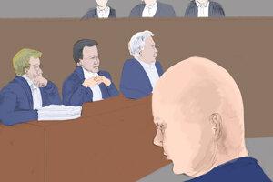 Dokončená kresba. Pavol Rusko počas výsluchu. Oproti nemu zľava právni zástupcovia Markízy Tomáš Kamenec a Daniel Lipšic. Vedľa prokurátor Ján Šanta.