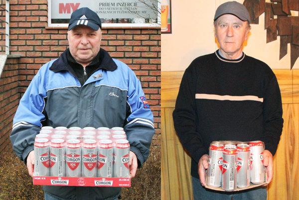 V 2. kole si kartón piva Corgoň rozdelili dvaja tipujúci - Rudolf Kéri zo Zlatých Moraviec (vľavo) a Július Pápay z Hornej Kráľovej.