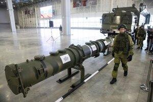 Ruská raketa typu 9M729 na základni Kubinka pri Moskve.
