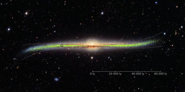 Rozmiestnenie cefeíd po Mliečnej ceste ukázalo prehnutý disk galaxie. Značka vľavo od stredu ukazuje pozíciu Slnka.