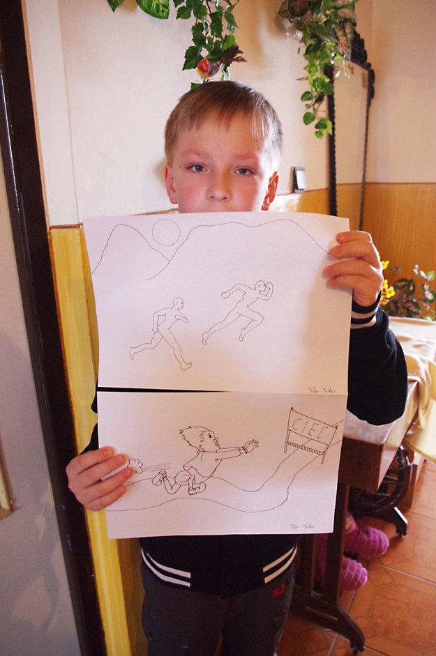 Filipko s návrhmi kresieb na Beh nádeje