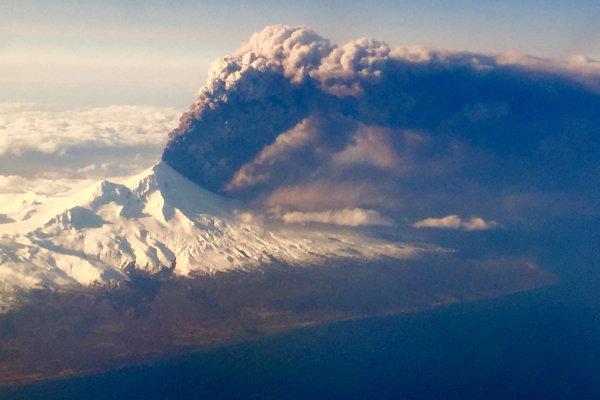 Sopka Pavlof na Aljaške.