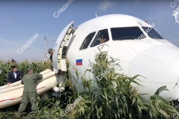 Lietadlo skončilo v kukuričnom poli.