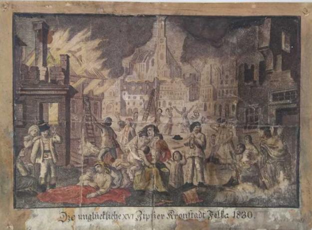 Kolorovaná oceľorytina - Požiar vo Veľkej, 1830 - stav pred reštaurovaním.