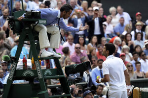 Damian Steiner počas debaty s Novakom Djokovičom vo finále Wimbledonu.