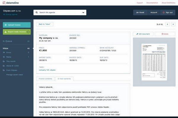 DataMolino dokáže spracovať faktúry, ktoré majú rôzny výzor a údaje z nich ďalej posunúť napríklad do účtovného programu.