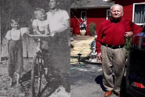 Vľavo Demeter Kokosh ako sedemročný, jeho brat Ján (3) a strýko Peter na snímke z roku 1939. Vpravo Demeter Kokosh dnes.