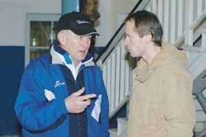 nový tréner martina rudolf uličný (vľavo) v rozhovore s novou posilou michalom beranom