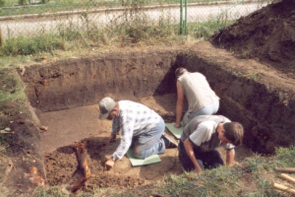 Záber z terénnych prác v Borovciach v roku 2004.