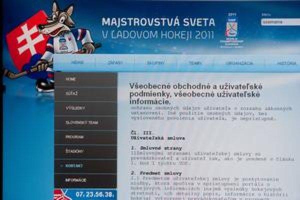 Stránka sampionat.sk sa snažila pôsobiť ako oficiálna.