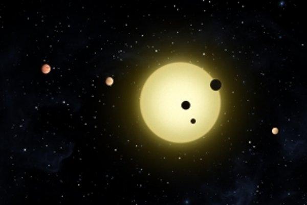 Planetárny systém Kepler-11 podľa predstáv umelca.