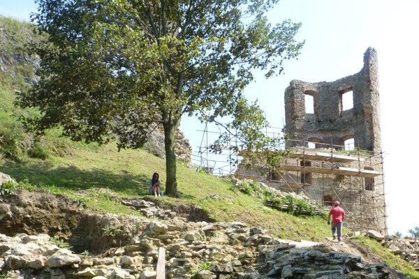 Na snímke práce na záchrane hradu Plaveč, ktorý bol postavený koncom 13. storočia. V súčasnosti sa jeho torzo pokúšajú zachrániť aj vďaka projektu úradu práce na podporu nezamestnaných.