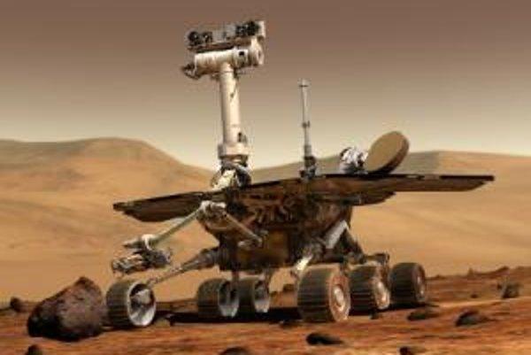 Umelecká vízia robotického prieskumného vozidla typu MER v marsovskom teréne.