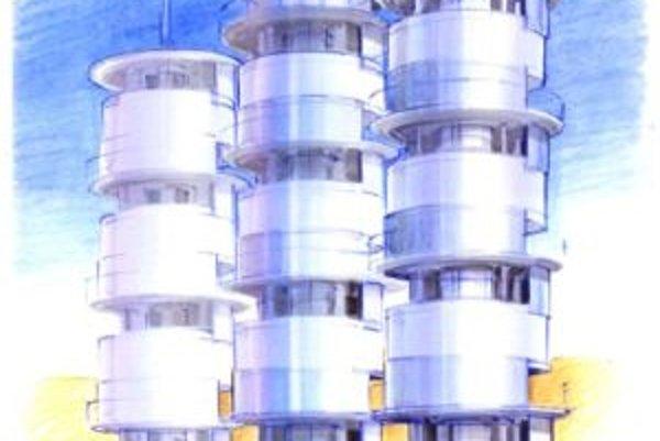 Možná podoba vežových technických zariadení v továrni na získavanie pitnej vody zo vzdušnej vlhkosti podľa projektovej štúdie.