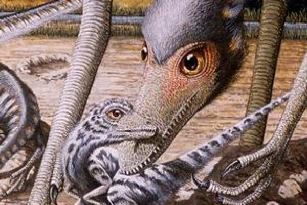 Umelecká vízia samca troodona, ktorý pomáha svojmu čerstvo vyliahnutému mláďaťu.