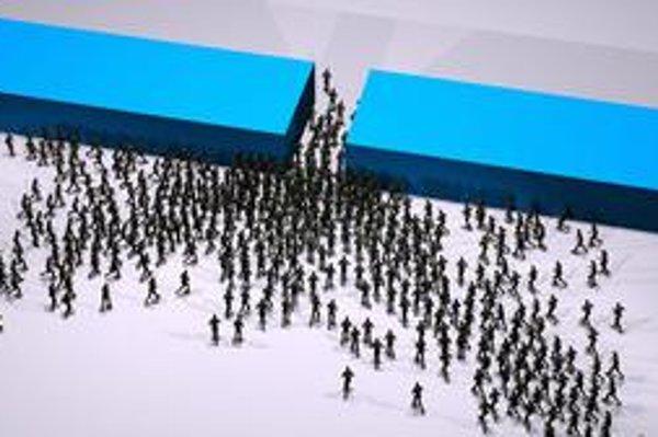 Simulácia rýchleho, no pokojného odchodu davu z veľkej haly.