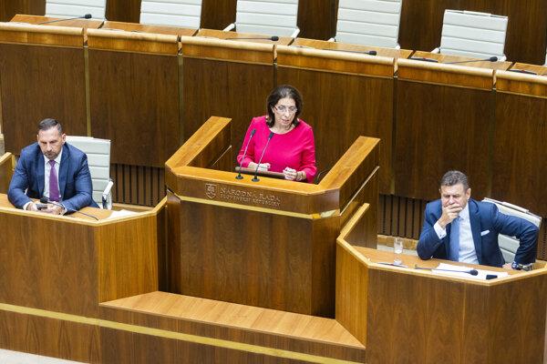 Zľava poslanci NR SR Peter Antal (Most-Híd), Anna Zemanová (SaS) a minister životného prostredia SR László Sólymos (Most-Híd) počas rokovania 49. schôdze NR SR.