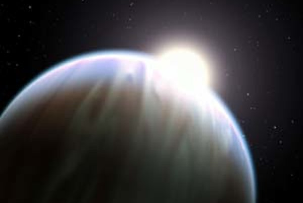 Umelecká vízia HD 189733b - planéta je v popredí a nad jej horným okrajom vpravo vidno časť materskej hviezdy.