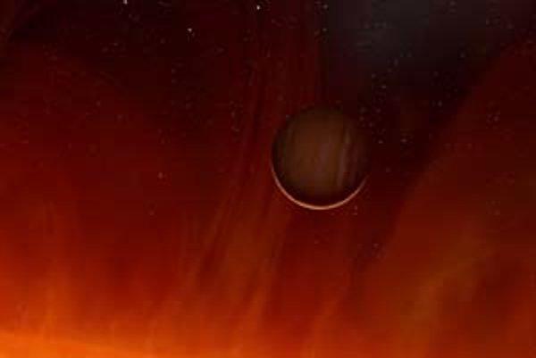 Umelecká vízia V391 Pegasi a jej planéty pred 100 miliónmi rokov, keď hviezda v štádiu červeného obra dosiahla najväčšie rozmery.