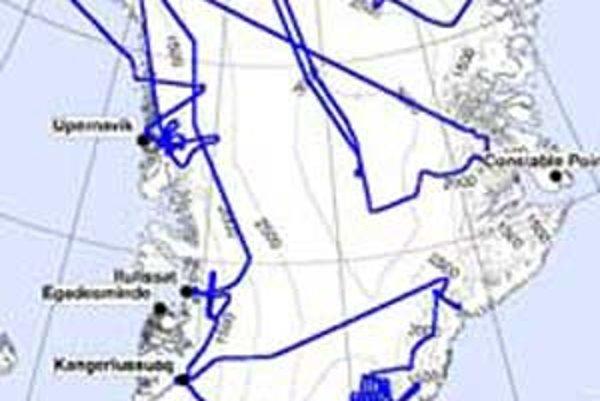 Trasa, ktorú mapovali vedci NASA v Grónsku.