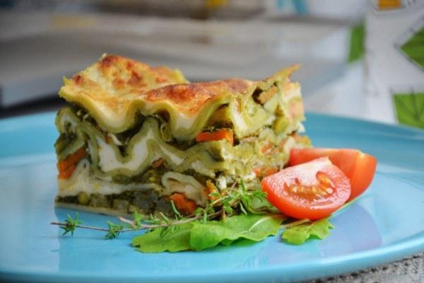 špenátové lasagne s tymiánom