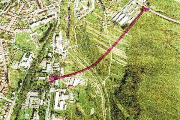 Plánovaná trasa juhovýchodného obchvatu Starej Ľubovne.