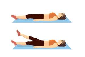 Ležíte na chrbte. Stabilizujete sa rukami, ktoré sú uložené pozdĺž tela alebo pod zadkom. Dlane sú otočené k zemi. Nohy zdvihnete mierne nad zem. Robíte pomalé cikcakovité pohyby, pri ktorých striedate polohu nôh. Raz je na vrchu pravá noha, vzápätí ju strieda ľavá a naopak.