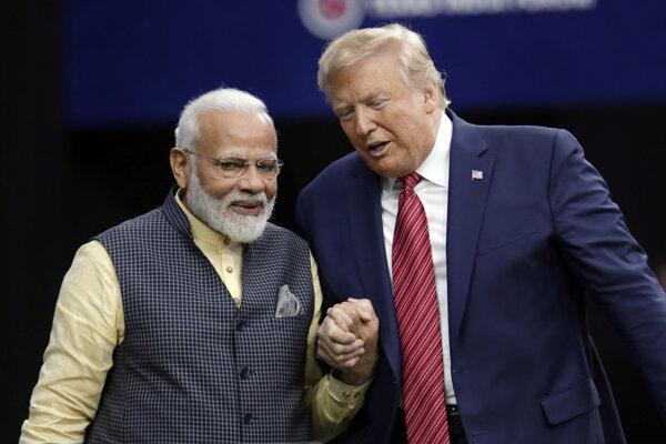 Americký prezident Donald Trump s indickým premiérom Naréndrom Módím