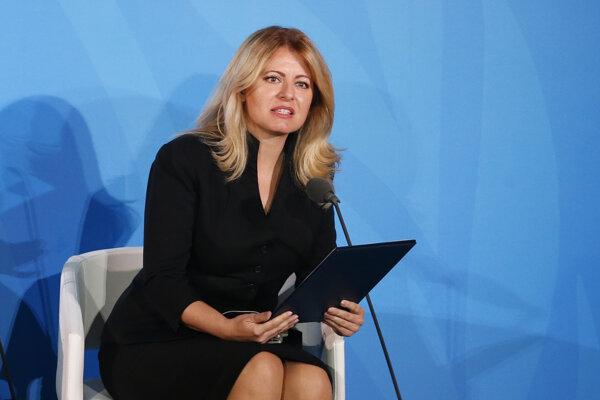 Na snímke prezidentka SR Zuzana Čaputová počas prejavu na Klimatickom summite v sídle OSN v New Yorku.