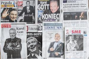 Titulné strany slovenských a českých denníkov po smrti Karla Gotta.