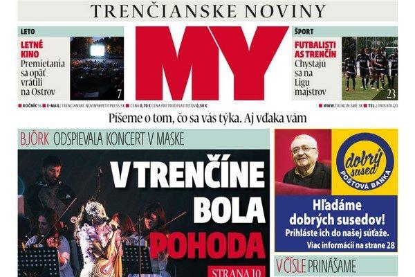 27 číslo týždenníka MY Trenčianske noviny.