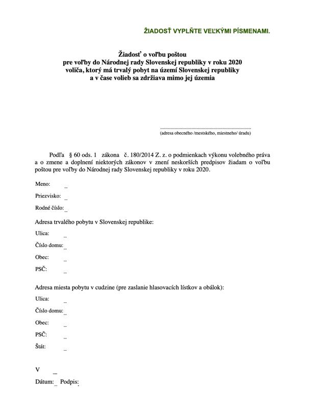 Vzor žiadosti o voľbu poštou pre parlamentné voľby 2020
