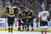 Zdeno Chára (vľavo) oslavuje gól so svojimi spoluhráčmi z Bostonu Bruins.