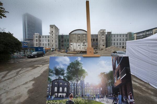 Dolu vizualizácia rekonštrukcie národnej kultúrnej pamiatky, pradiarne bývalej Cvernovky v rámci projektu Zwirin v Bratislave.
