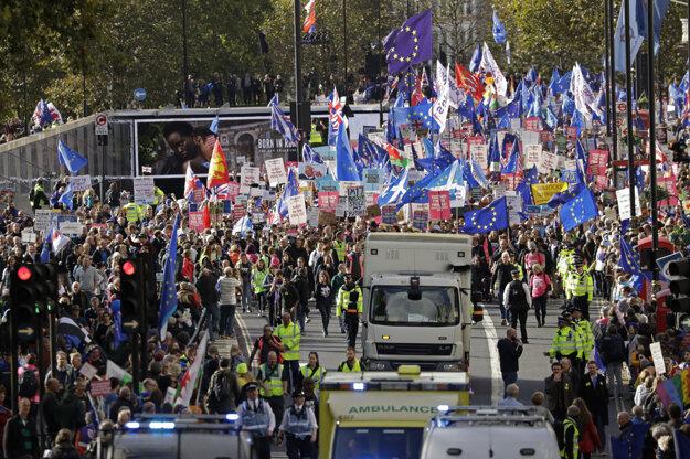 Protest požadujúci nové referendum o brexite.