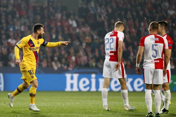 Lionel Messi v zápase Slavia Praha - FC Barcelona.